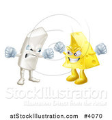 Vector Illustration of Debating Angry Chalk and Cheese Mascots by AtStockIllustration