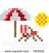Vector Illustration of Deck Beach Chair Pixel 8 Bit Video Game Art Icon by AtStockIllustration