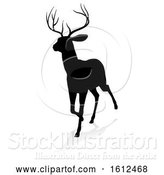 Vector Illustration of Deer Animal Silhouette, on a White Background by AtStockIllustration