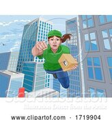 Vector Illustration of Delivery Courier Superhero Flying Super Hero by AtStockIllustration