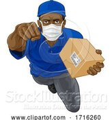 Vector Illustration of Delivery Superhero Courier Delivering Package Box by AtStockIllustration