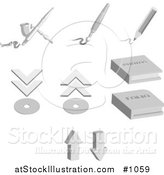 Vector Illustration of Design Items Including an Airbrush, Paintbrush, Pencil, Discs, Photo Album and Folio Album, over a White Background by AtStockIllustration
