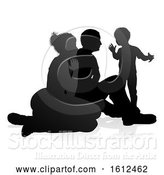 Vector Illustration of Detailed Family Silhouette, on a White Background by AtStockIllustration
