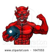Vector Illustration of Devil Bowling Sports Mascot Holding Ball by AtStockIllustration