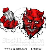 Vector Illustration of Devil Satan Golf Ball Sports Mascot by AtStockIllustration