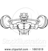 Vector Illustration of Devil Weight Lifting Body Builder Sports Mascot by AtStockIllustration