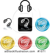 Vector Illustration of Different Colored Headphones Icon Buttons by AtStockIllustration