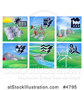 Vector Illustration of Different Energy Power Plants by AtStockIllustration