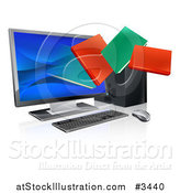 Vector Illustration of Digital Books Emerging from a Desktop Computer Screen by AtStockIllustration