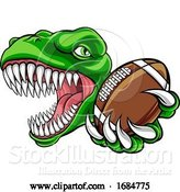 Vector Illustration of Dinosaur American Football Animal Sports Mascot by AtStockIllustration