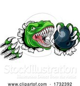 Vector Illustration of Dinosaur Bowling Player Animal Sports Mascot by AtStockIllustration