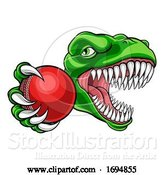 Vector Illustration of Dinosaur Cricket Player Animal Sports Mascot by AtStockIllustration