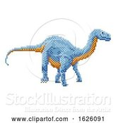 Vector Illustration of Dinosaur Diplodocus Pixel Art Arcade Game by AtStockIllustration