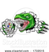 Vector Illustration of Dinosaur Gamer Video Game Controller Mascot by AtStockIllustration