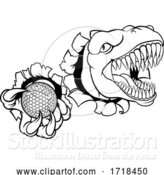 Vector Illustration of Dinosaur Golf Player Animal Sports Mascot by AtStockIllustration