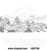 Vector Illustration of Dinosaur Prehistoric Landscape Scene by AtStockIllustration
