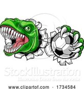 Vector Illustration of Dinosaur Soccer Football Player Sports Mascot by AtStockIllustration