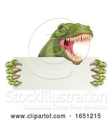 Vector Illustration of Dinosaur T Rex Holding Sign by AtStockIllustration