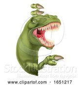Vector Illustration of Dinosaur T Rex Peeking and Pointing Sign by AtStockIllustration