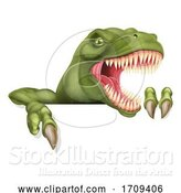 Vector Illustration of Dinosaur T Rex Pointing at Sign by AtStockIllustration