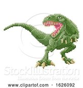 Vector Illustration of Dinosaur Trex 8 Bit Pixel Art Arcade Game by AtStockIllustration