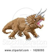 Vector Illustration of Dinosaur Triceratops Pixel Art Arcade Game by AtStockIllustration