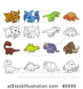 Vector Illustration of Dinosaurs and Prehistoric Animals in Color and Black and White by AtStockIllustration