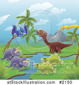 Vector Illustration of Dinosaurs by a Volcano and Stream by AtStockIllustration