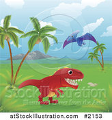 Vector Illustration of Dinosaurs in a Tropical Landscape by AtStockIllustration