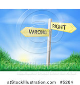 Vector Illustration of Directional Wrong and Right Signs over a Sunrise and Grassy Hill by AtStockIllustration