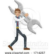Vector Illustration of Doctor Guy Holding Spanner Wrench Concept Mascot by AtStockIllustration