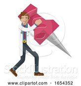 Vector Illustration of Doctor Guy Holding Thumb Tack Pin Mascot Concept by AtStockIllustration