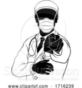 Vector Illustration of Doctor in PPE Mask Pointing Needs You Silhouette by AtStockIllustration