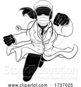 Vector Illustration of Doctor Lady Flying Super Hero PPE Mask Silhouette by AtStockIllustration