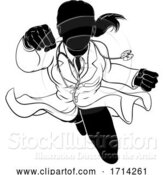 Vector Illustration of Doctor Lady Flying Super Hero Silhouette by AtStockIllustration