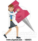 Vector Illustration of Doctor Lady Holding Thumb Tack Pin Mascot Concept by AtStockIllustration