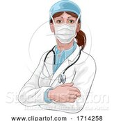Vector Illustration of Doctor Lady in Medical PPE Mask by AtStockIllustration