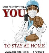 Vector Illustration of Doctor Lady Needs You Stay Home Pointing Poster by AtStockIllustration