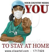 Vector Illustration of Doctor Nurse Lady Needs You Stay at Home Pointing by AtStockIllustration