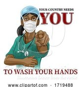 Vector Illustration of Doctor Nurse Lady Needs You Wash Hands Pointing by AtStockIllustration