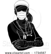 Vector Illustration of Doctor Nurse Lady PPE Mask Scrubs Silhouette by AtStockIllustration