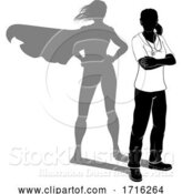 Vector Illustration of Doctor Nurse Lady Silhouette Scrubs Super Hero by AtStockIllustration