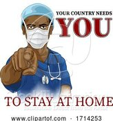 Vector Illustration of Doctor Nurse Needs You Stay Home Pointing Poster by AtStockIllustration
