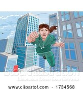Vector Illustration of Doctor Nurse Scrubs Superhero Flying Super Hero by AtStockIllustration