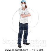 Vector Illustration of Doctor or Nurse Lady in Medical Scrubs and PPE by AtStockIllustration