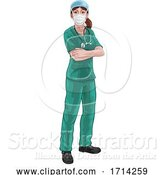 Vector Illustration of Doctor or Nurse Lady in Medical Scrubs Unifrom by AtStockIllustration