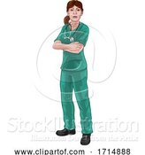 Vector Illustration of Doctor or Nurse Lady in Scrubs Medical Worker by AtStockIllustration