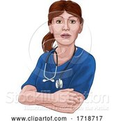 Vector Illustration of Doctor or Nurse Lady in Scrubs Uniform by AtStockIllustration