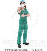 Vector Illustration of Doctor or Nurse Lady in Scrubs Uniform Pointing by AtStockIllustration