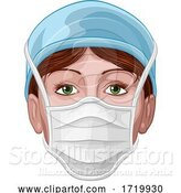 Vector Illustration of Doctor or Nurse Wearing PPE Protective Face Mask by AtStockIllustration